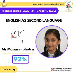 English as Second language Topper IGCSE 2021