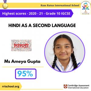 Hindi as Second Language Topper IGCSE 2021